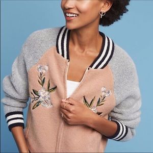 Maeve Knit Bomber Jacket w/ Floral Embroidery XS
